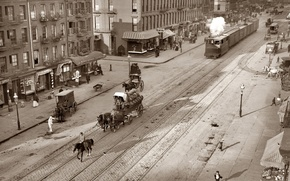 Picture retro, transport, rails, horses, pavers, Tram, history, old town