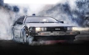 Picture background, lights, smoke, Back to the future, The DeLorean, DeLorean, DMC-12, the front, Back to …