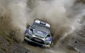 Picture Ford, dirt, Puddle, Squirt, WRC, Rally, Fiesta, The front, Jari-Matti Latvala, To Reach MIA, Antti