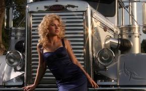 Picture girl, blonde, radiator, peterbilt, evening dress
