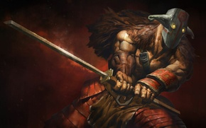 Picture sword, warrior, mask, art, Dota 2, Juggernaut, Yurnero