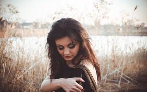 Picture autumn, river, dress