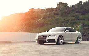 Picture Audi, hills, Audi, silver, Blik, quattro, silvery, Sportback, TFSI, 3.0