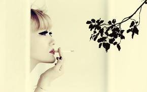 Picture girl, mood, branch, cigarette, lipstick, Ozge Aslan, I Can`t Smoke