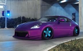 Picture road, car, machine, auto, traffic light, Nissan, crossroads, the tunnel, Nissan, lilac, purple, purple, avto, …
