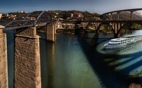 Picture mountains, bridge, river, ship, Portugal, Viseu