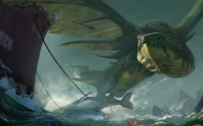 Picture sea, people, boat, wings, monster, ships, being, art, whale, harpoon