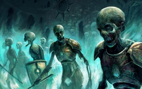 Wallpaper skull, magic, art, skeletons, undead, army, zombies