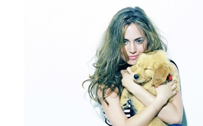 Picture girl, hair, puppy, Eliza Dushku