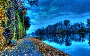 Picture autumn, the sky, trees, river, wall, channel, bench