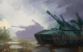 Picture field, dirt, art, tank, gun