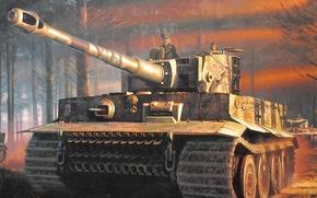 Picture tiger, war, figure, tank