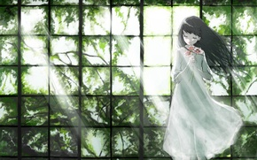 Picture light, flowers, branches, foliage, window, Girl, white dress, closed eyes