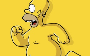 Wallpaper Homer, running, Simpson, naked, yellow