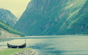 Picture greens, water, mountains, boat, beauty, Norway, fjords