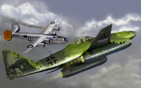 Picture war, art, painting, aviation, jet, ww2, Messerschmitt Me 262