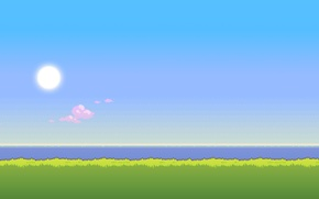 Picture sea, the sky, grass, the sun, time, morning, day, 8bit
