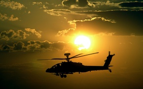 Wallpaper sunset, helicopter, apache, helicopter, sunset