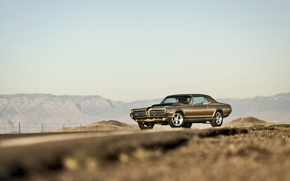 Picture road, the sky, mountains, lights, the fence, wheel, Cougar, 1967, Mercury