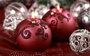 Picture red, macro, candles, holiday, decoration, silver, ball, new year, sequins