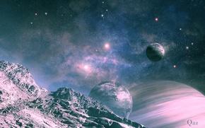 Picture space, landscape, planet, satellite, art, QAuZ