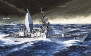 Picture sea, figure, ships, helicopter, us Navy, USS Arthur W. Radford, Spruance-class destroyer, United States Navy, ...