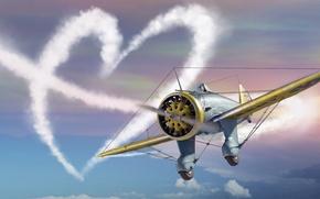 Picture Heart, love, the plane, Valentine's day, plane, simulator, MMO, Mac OS, War Thunder, Gaijin Entertainment, …