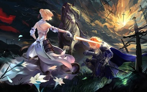 Picture girl, flowers, weapons, horse, sword, anime, petals, warrior, art, ice, guy, saber, fate stay night, …