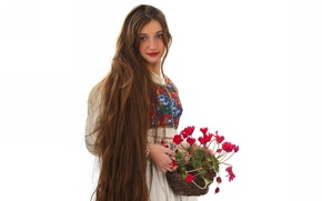Picture girl, flowers, dress, brunette, basket, long hair