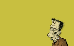 Picture yellow background, Frankenstein, Frankenstein