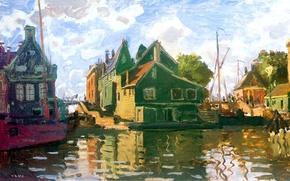 Picture landscape, home, picture, Claude Monet, The Zaandam. Channel