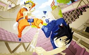 Wallpaper Naruto, Naruto, art, Uzumaki Naruto, Uzumaki Naruto, Anime, Uchiha Sasuke, Uchiha Sasuke