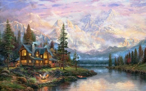 Wallpaper forest, mountains, fog, house, river, fire, boat, chairs, cross, the fire, hammock, painting, deer, cottage, ...