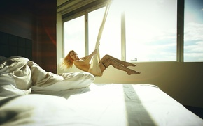 Picture girl, light, swing, room, stockings, window, blonde, bed, fabric, legs