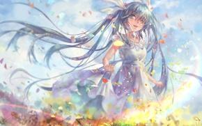 Picture the sky, girl, clouds, joy, flowers, anime, art, vocaloid, hatsune miku, avamone