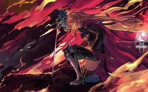 Picture girl, weapons, smoke, sword, anime, art, cloak, pixiv fantasia, tsubasa19900920