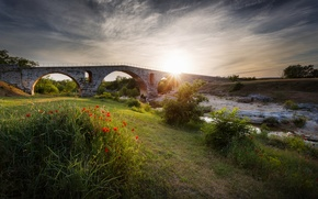 Picture the sun, rays, flowers, bridge, river, Maki, stream, flowerbed