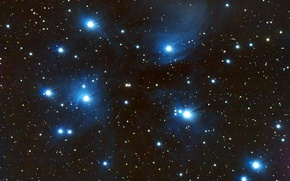 Wallpaper space, stars, The Pleiades, star cluster, in the constellation of Taurus, M45