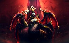Picture girl, wings, the demon, art, horns, dagger, the throne, Dota 2, Akasha, Queen of Pain