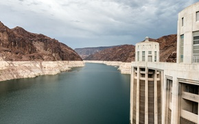 Picture rock, sky, cloud, mountain, lake, canyon, dam, mead, hoover