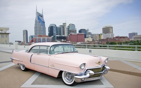 Picture retro, pink, chic, Cadillac