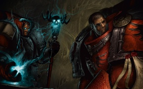Picture staff, armor, Warhammer, space Marines, 40k, Blood Angels, the librarian