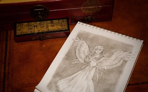 Picture figure, wings, angel, 156, Notepad, box