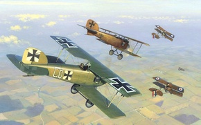 Picture the sky, figure, art, front, aircraft, English, dogfight, German, Albatros, WW1, D ID II, Western, …
