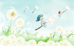Picture spring, children, dandelion