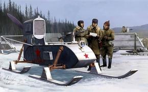 Picture figure, art, USSR, self-propelled sleigh, RF-8-GAZ-98, Snowmobile