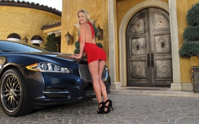 Picture road, auto, look, girl, building, Jaguar, Girls, blonde