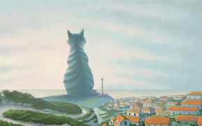 Wallpaper lighthouse, giant, Cat, the city