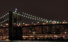 Picture landscape, bridge, city, view, the evening