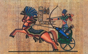 Picture surface, wall, war, chariot, texture, bow, Pharaoh, characters, shooting, relief, ancient, XIX, Egypt, papyrus, wallpaper., ...